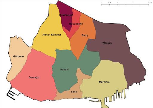 بيليك دوزوز التقسيمات الإدارية